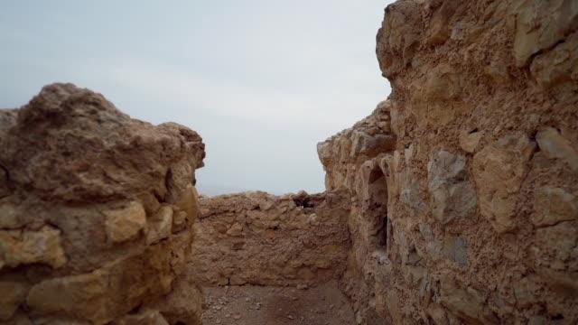 CU PAN Shot of ancient ruins at Masada in Negev desert / Israel