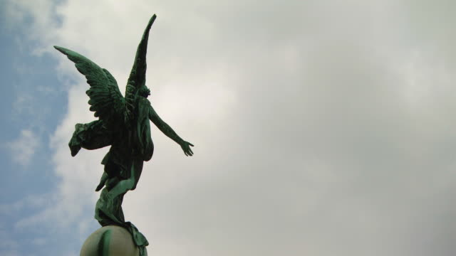 ms shot of angel statue / vienna, austria - angel stock videos & royalty-free footage