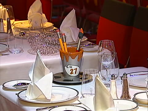 "shot of ""animator's palate"" restaurant and cut shots to inside of tables set up for dinner - animator stock videos & royalty-free footage"