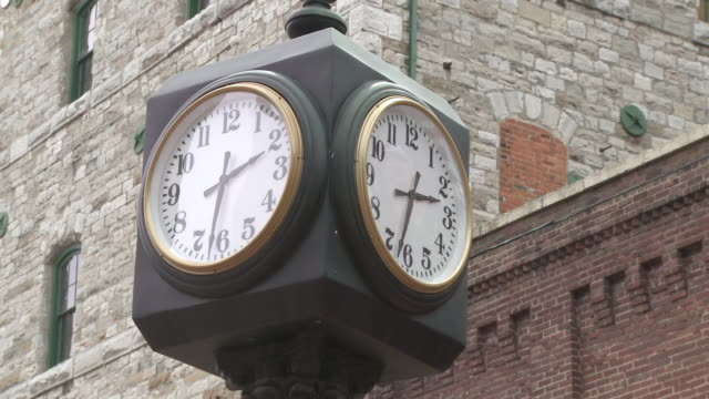 MS PAN Shot of Antique clock tower in historic distillery district / Toronto, Ontario, Canada