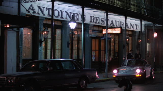 ms shot of antoines restaurant in new orleans - entrance sign stock videos & royalty-free footage