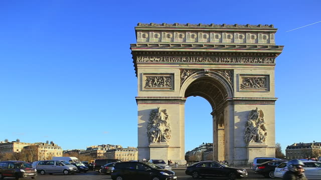 MS Shot of Arc de Triomphe, Charles de Gaulle-Etoile with traffic / Paris, Ile de France, France