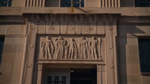 ms a shot of architectural details on the front entrance of us justice department washington dc august 27 2014 activists will rally outside the... - department of justice stock videos & royalty-free footage