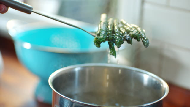 cu tu slo mo shot of asparagus being taken out of boiling pan / united kingdom - boiling stock videos & royalty-free footage