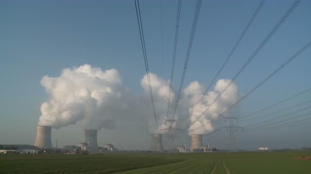 ws shot of atomic power plant / cattenom, lorraine, france - lorraine bildbanksvideor och videomaterial från bakom kulisserna