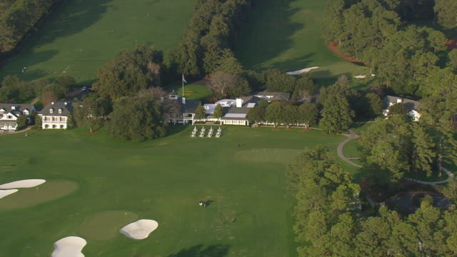 MS AERIAL Shot of Augusta national golf course / Georgia, United States