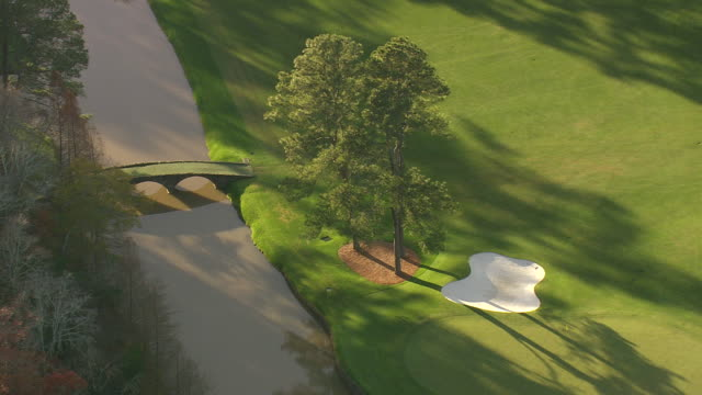 cu aerial shot of augusta national golf course / georgia, united states - links golf stock videos & royalty-free footage