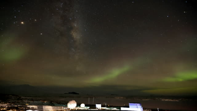 shot of aurora above landscape of antarctica - antarctica sunset stock videos & royalty-free footage
