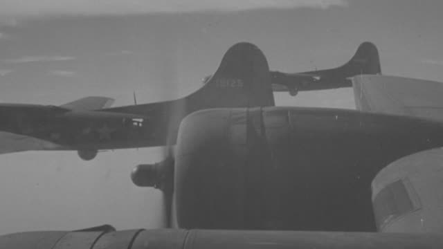 ms shot of b-17 planes in flight - bomber plane stock videos and b-roll footage