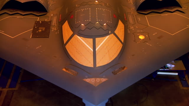 cu zo shot of b2 spirit in hangar / palmdale, california, united states - bomber plane stock videos and b-roll footage