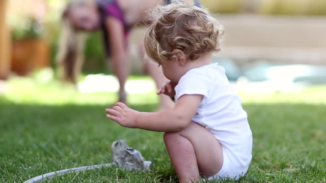 MS Shot of baby boy playing with sprinkler / Santa Fe, New Mexico, United States
