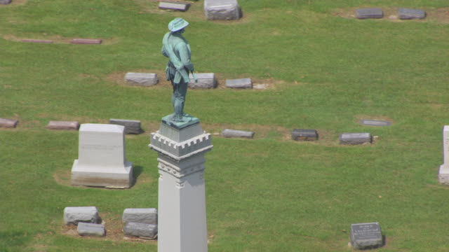 CU AERIAL TS ZO Shot of back side of Confederate Monument at Forest Hill Cemetery / Kansas City, Missouri, United States