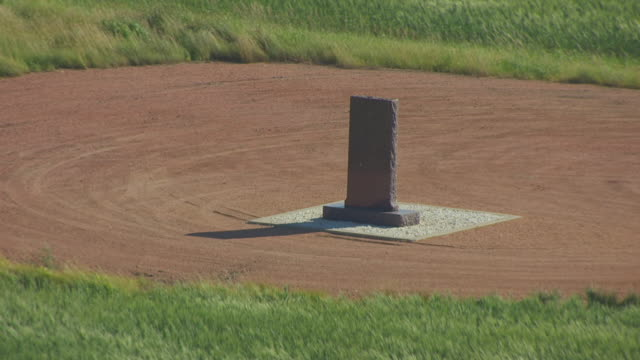 MS AERIAL TS Shot of Back side of Iverson Farm Oil Monument / North Dakota, United States