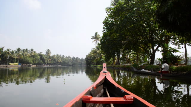 MS POV Shot of Backwaters of Alleppey / Alleppey, Kerala, India