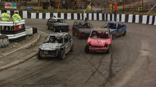 ms slo mo zi td shot of banger racing / manchester, united kingdom   - 1 minute or greater stock videos & royalty-free footage