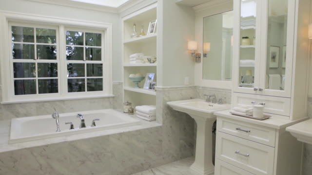ms pan shot of bathroom instylish home / lake oswego, oregon, united states - bathroom stock videos & royalty-free footage