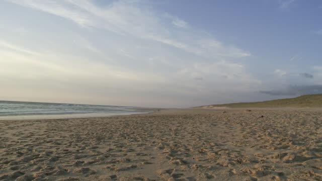 WS Shot of beach on Atlantic coastline / Cap de l'Homy, Aquitaine, France