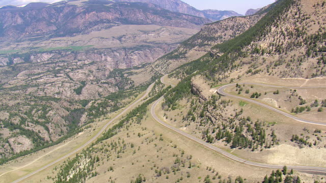 WS AERIALS Shot of bear pass Beartooth Highway / Montana, United States