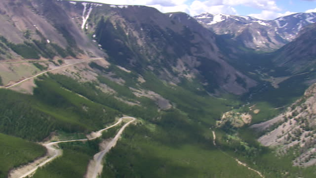 WS AERIAL PAN Shot of Beartooth Highway in valley / Montana, United States