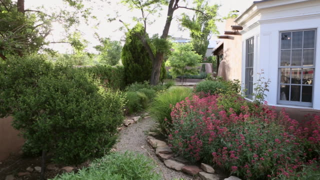 ms shot of beautiful landscaped garden outside of home / lamy, new mexico, united states - lamy new mexico stock videos & royalty-free footage