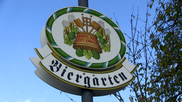 cu shot of beer garden at castle berg sign board / perl-nennig, saarland, germany - western script stock videos & royalty-free footage