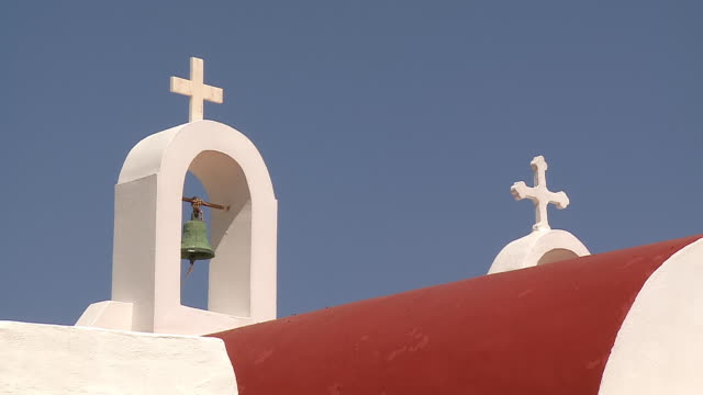 MS Shot of bello of church Agios Sostis / Mykonos, Cyclades, Greece