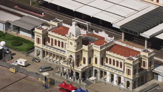 ms aerial shot of belo horizonte railway station / minas gerais, brazil - minas stock videos and b-roll footage