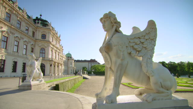 ms shot of belvedere palace and gardens / vienna, austria - belvedere palace vienna stock videos & royalty-free footage