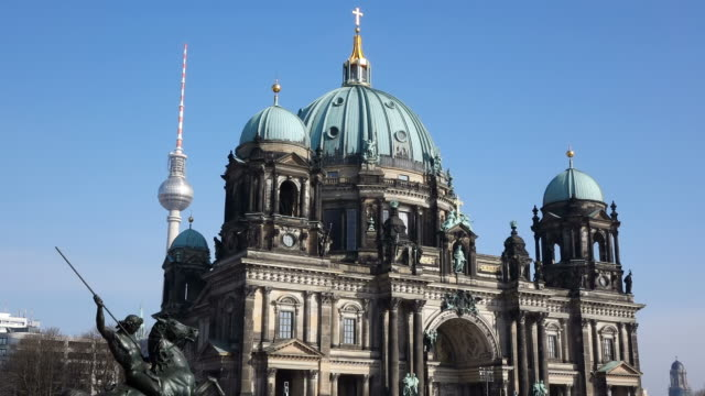 MS Shot of Berliner Dom (cathedral) and TV Tower / Berlin, Germany