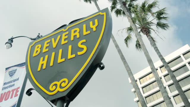 MS Shot of Beverly Hills Shield sign / Beverly Hills, California, United States