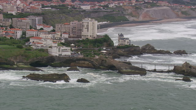 WS AERIAL DS ZI ZO Shot of Biarritz city on bay of Atlantic coast / Aquitaine, France