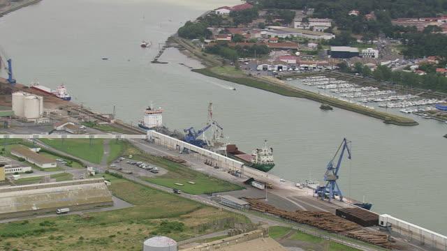 vidéos et rushes de ws aerial shot of biarritz port / aquitaine, france - aquitaine