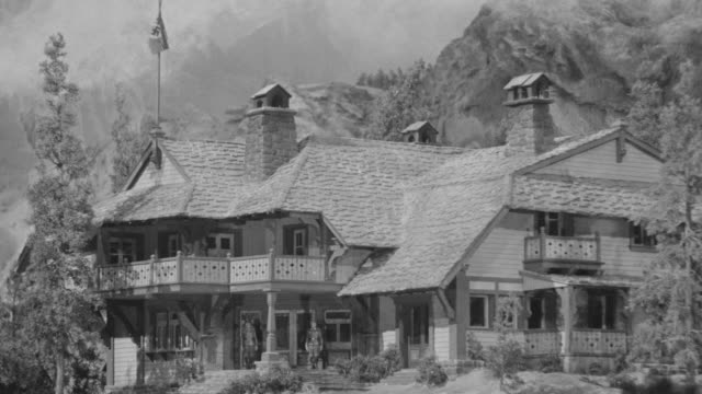 ws shot of big country mansion with mountains - ranch house stock videos & royalty-free footage