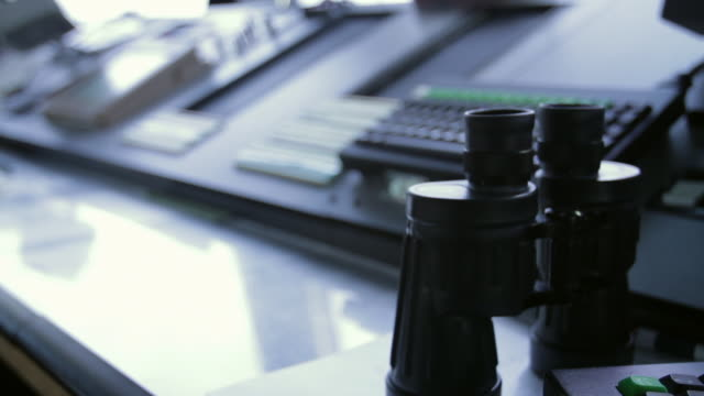 CU R/F Shot of binoculars and screens in air traffic control tower / Sterling, Virginia, United States