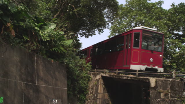 MS Shot of Black Car Driving away as Peak Tram Passes / Hong Kong, China