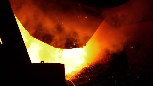 Shot of blast furnace with sparks