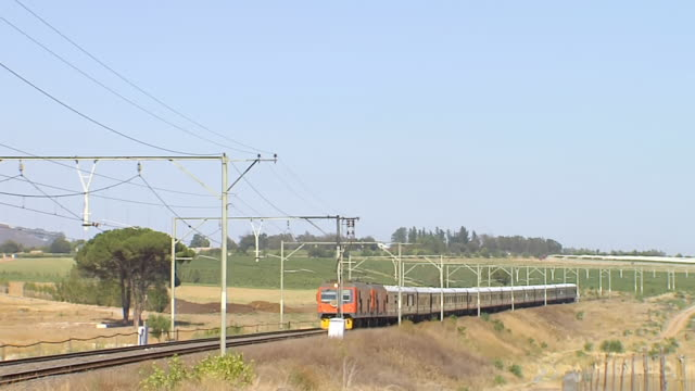 WS PAN Shot of Blue Train moving through winelands / South Africa