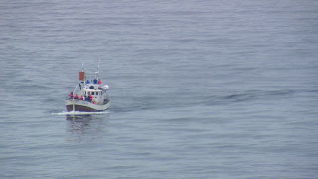 ms aerial shot of boat moving on ocean / iceland - fishing industry stock videos & royalty-free footage