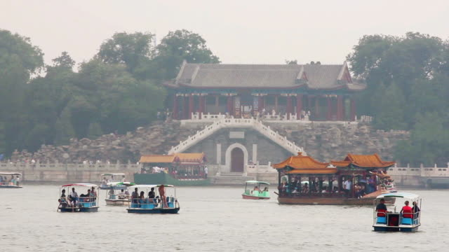 MS Shot of boats on Kunming Lake in Summer Palace / Beijing, China