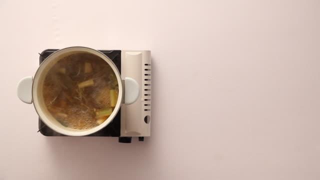 Shot of boiling Yukgaejang(Korean Spicy Beef Soup)