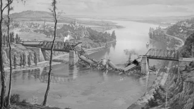 vidéos et rushes de ws shot of bombed out railroad bridge over river train wreckage  - 1 minute et plus