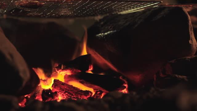 ecu shot of bonfire / okutama, tokyo, japan - bonfire stock videos & royalty-free footage
