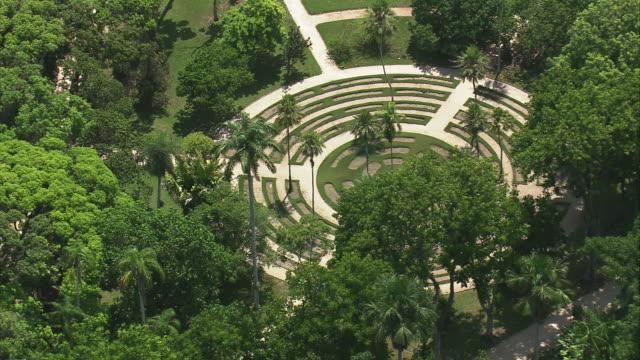 MS AERIAL Shot of Botanical Gardens area in city / Rio de Janeiro, Brazil