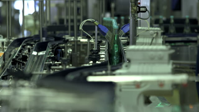 MS Shot of bottling plant at beverage industry / Gerolstein, Rhineland Palatinate, Germany