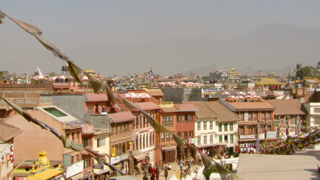ms pan shot of boudhanath stupa temple / kathmandu, nepal - stupa stock videos & royalty-free footage