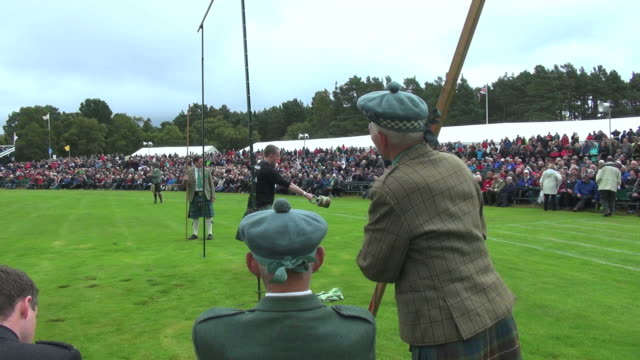 ms shot of braemar royal highland games / braemar, aberdeenshire, scotland - highland games stock videos & royalty-free footage