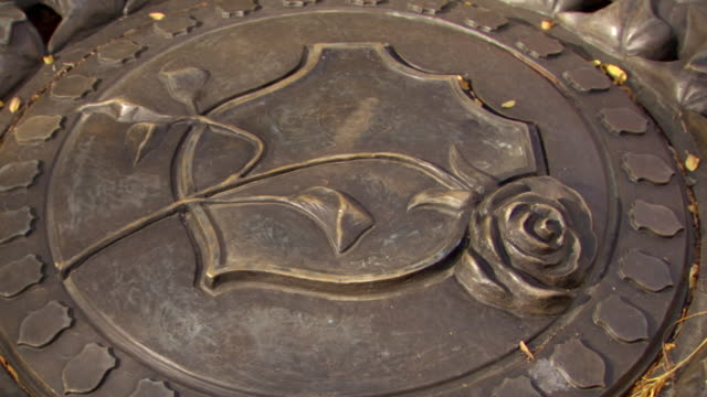 CU Shot of brass rose at National Law Enforcement Officers Memorial / Washington, District of Columbia, United States
