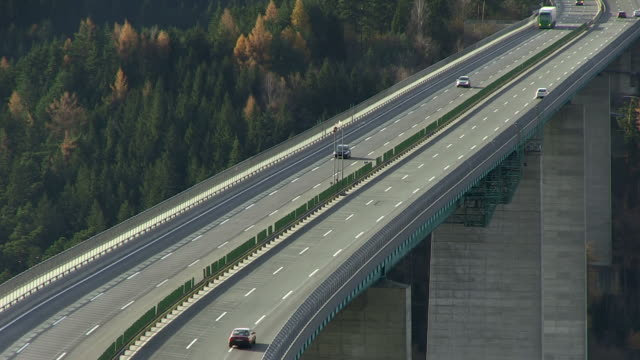 ms shot of brenner highway europabrã¼cke bridge / tyrol, austria - brennero stock videos and b-roll footage