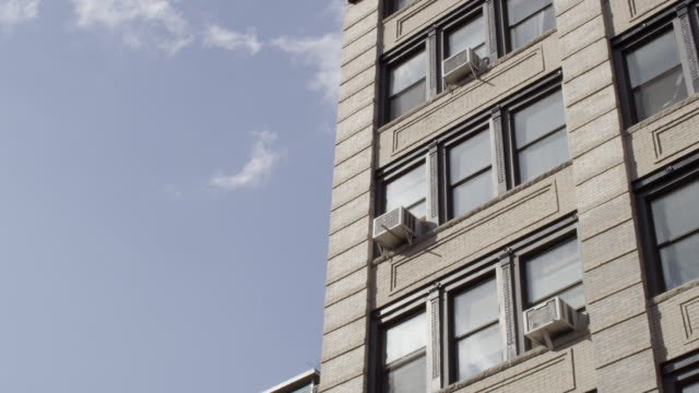 la shot of brick nyc building - air conditioner stock videos and b-roll footage
