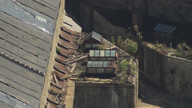 ms aerial zo shot of broken ceiling in building at eastern state penitentiary buildings / philadelphia, pennsylvania, united states - eastern state penitentiary stock videos & royalty-free footage